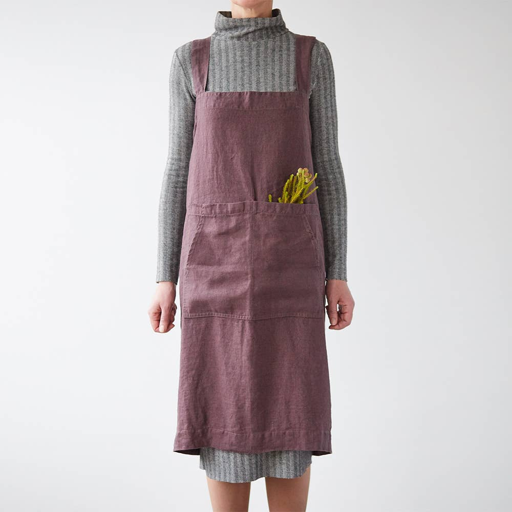 Pinafore Apron in Plum Mauve