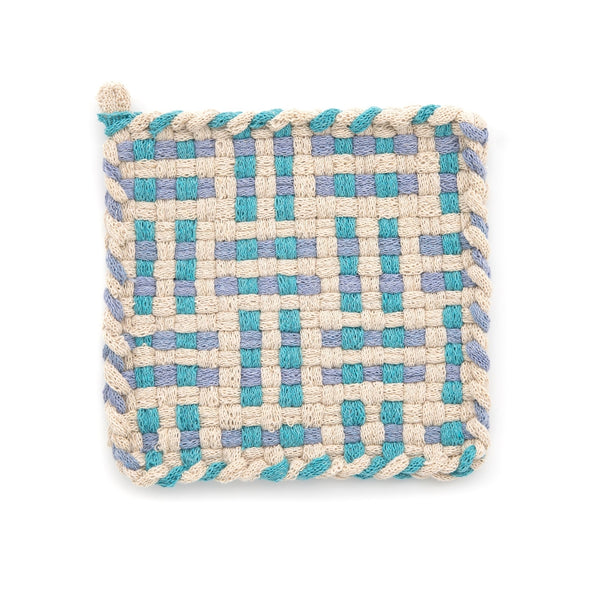 Kate Kilmurray: Handwoven Potholders in Deep Forest Collection Flax, Blue & Hydrangea