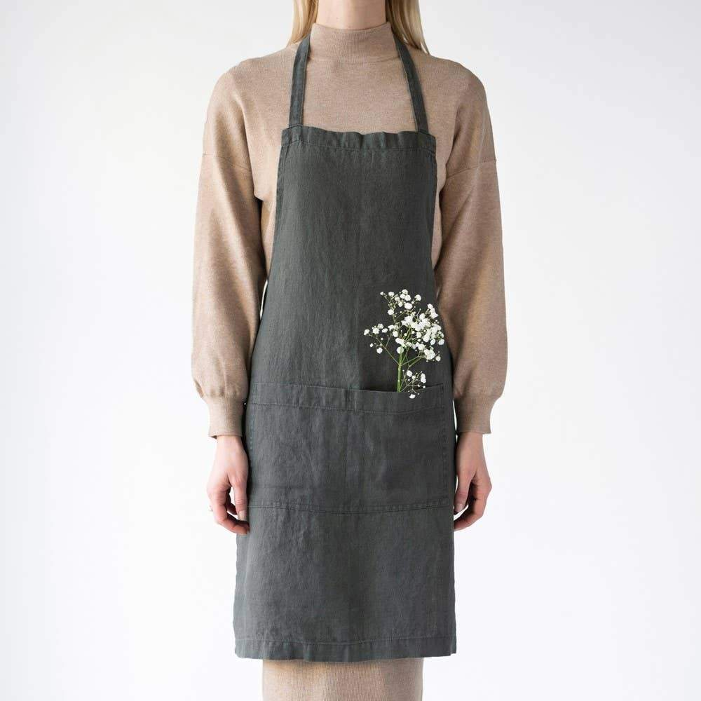 Linen Apron in Forest Green