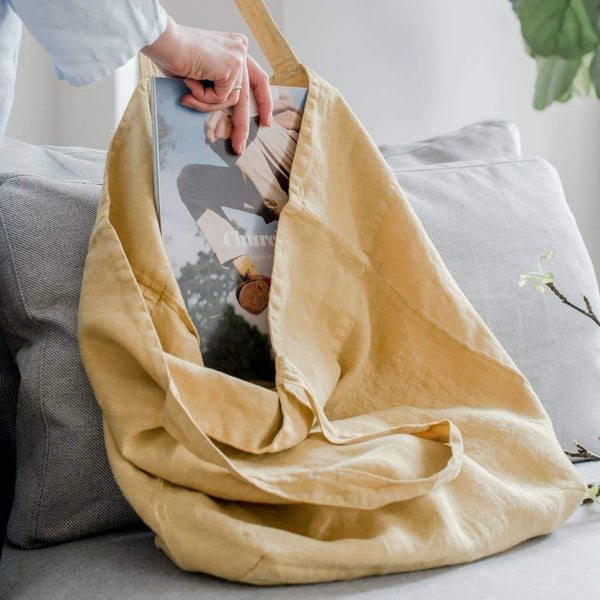Large Linen Tote in Honey
