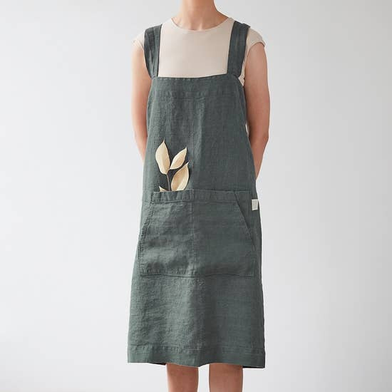 Linen Pinafore Apron in Forest Green