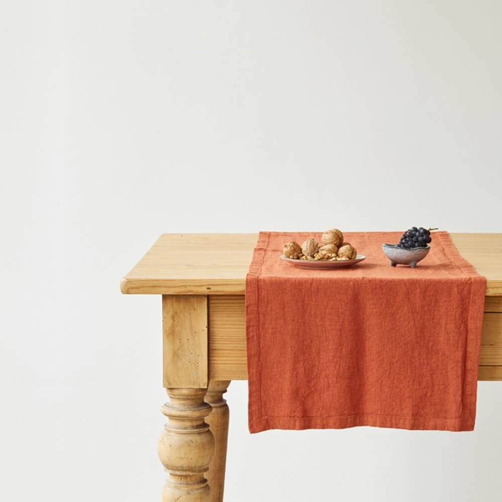 Linen Table Runner in Baked Clay