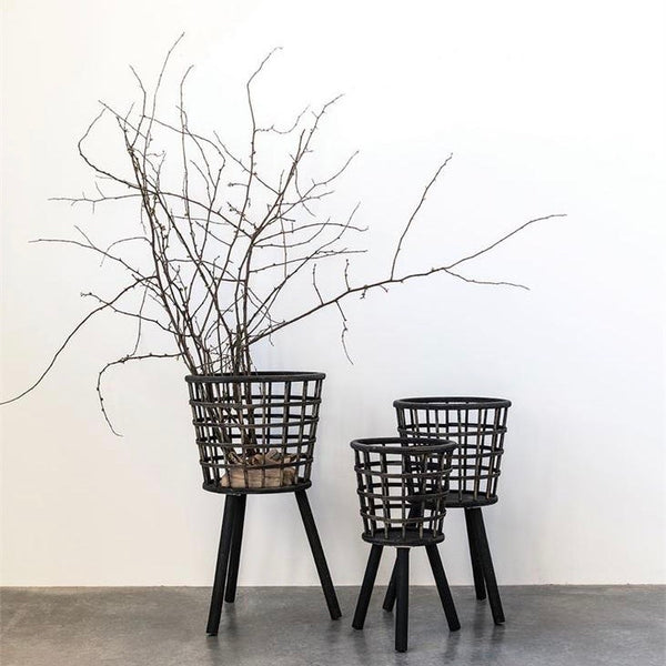 Black Bamboo Baskets with Wood Legs