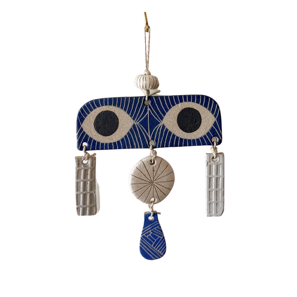jen e ceramics: Peekaboo Wall Hanging in Blue