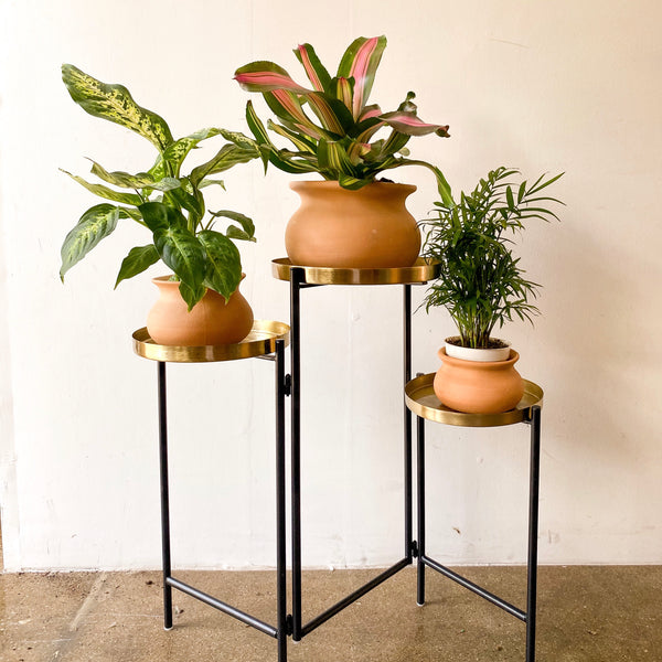 Golden Tri-Level Plant Stand