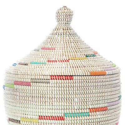 Senegalese Warming Basket, White with Rainbow