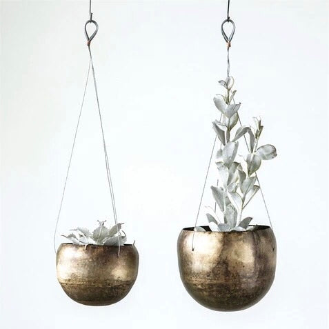 Antique Brass Hanging Planters