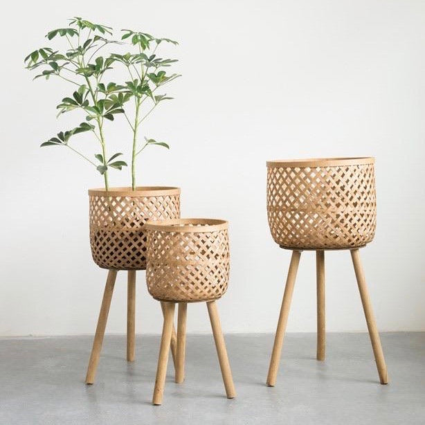 Woven Bamboo Baskets with Wood Legs