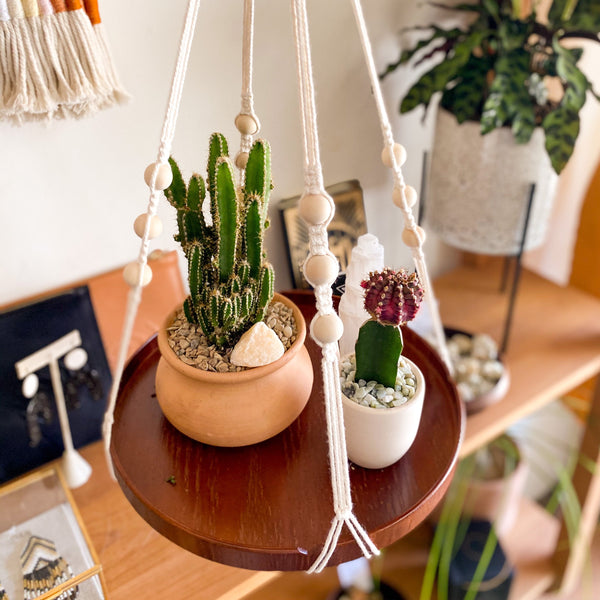 Macrame & Wood Hanging Plant Shelf