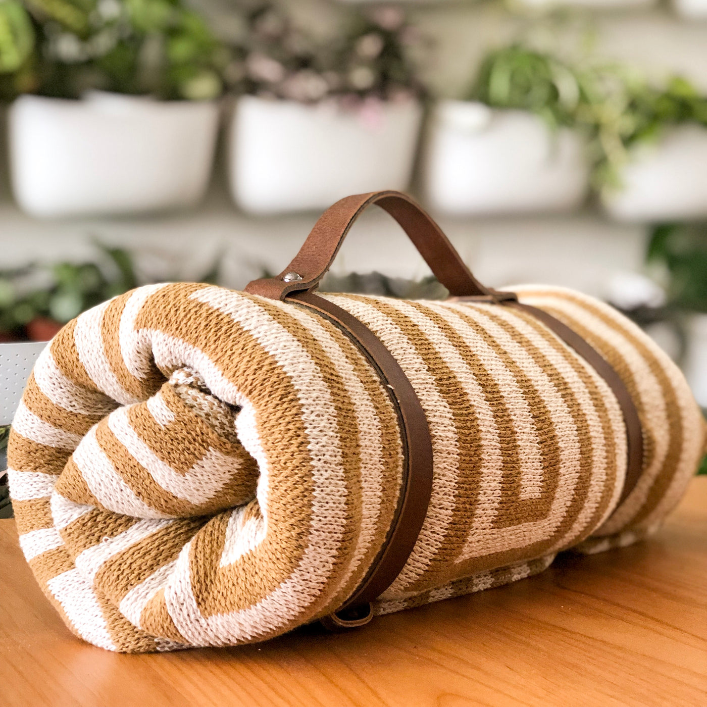 Vegan Leather Blanket Carrier
