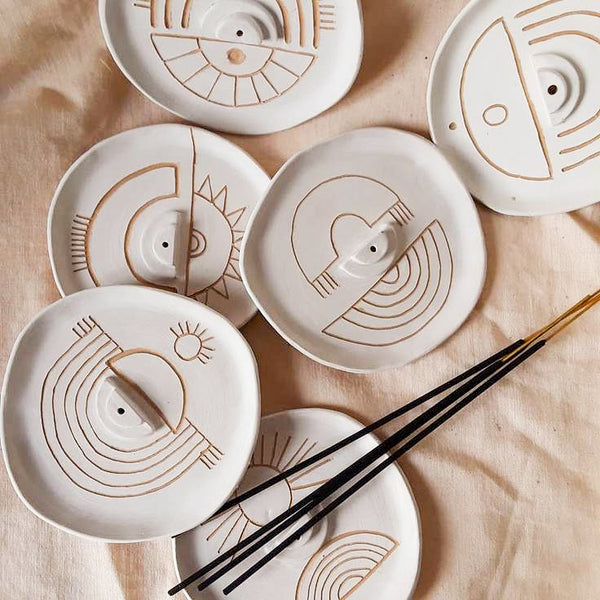 Curious Clay: Sgraffito Incense Dish, Tiered Center