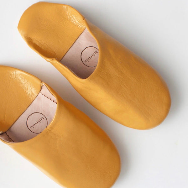 Moroccan Leather House Slippers in Mustard
