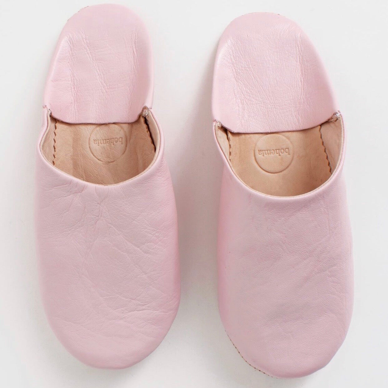 Moroccan Leather House Slippers in Rose Pink