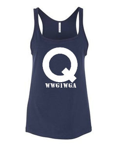 Ladies Navy Q Tank Top