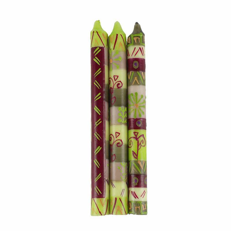 Hand Painted Candles in Kileo Design (three tapers) - Nobunto - Mandala Sol