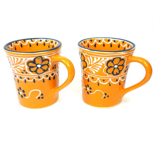 Pair of Handpainted Flared Ceramic Cups ● Mango ● Encantada Tableware Encantada - Mandala Sol