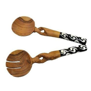 "11"" Olive Wood Salad Serving Set with Twisted Handles ● Jedando Handicrafts Tableware Jedando Handicrafts - Mandala Sol"