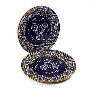 "12"" Blue Dinner Plates ● Set of Two ● Encantada - Mandala Sol"