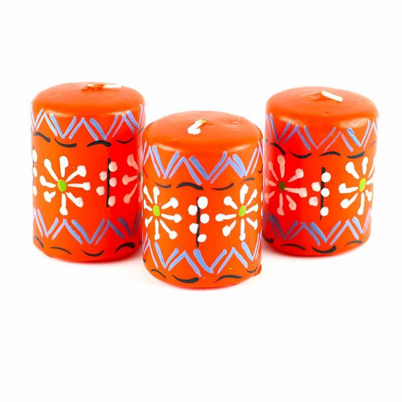 Hand Painted Candles in Orange Masika Design (box of three) - Nobunto Gifts and Accessories Nobunto - Mandala Sol