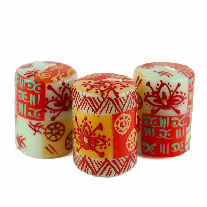 Hand Painted Candles in Owoduni Design (box of three) - Nobunto Gifts and Accessories Nobunto - Mandala Sol