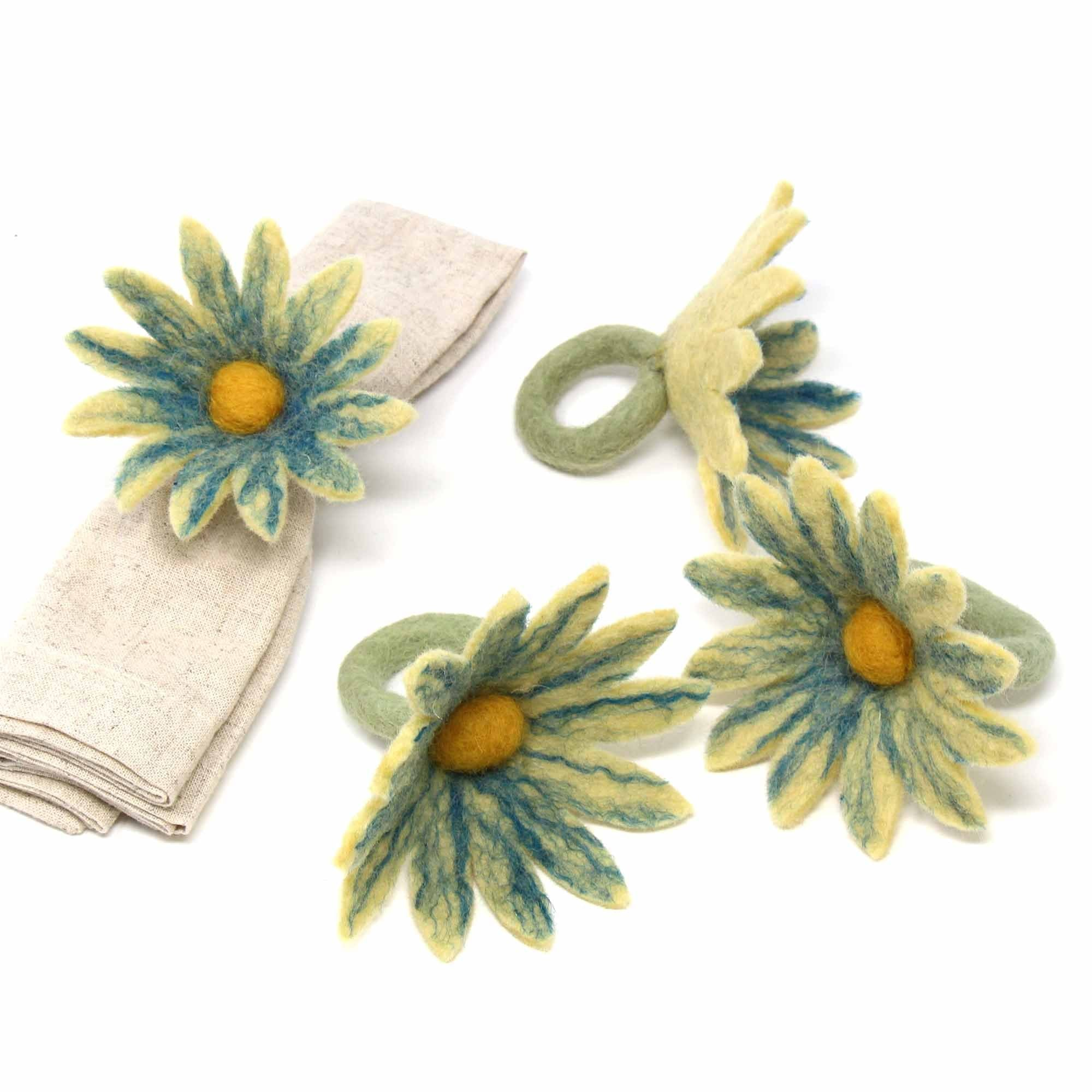 Daisy Napkin Rings ● Set of Four Midnight ● Global Groove Tableware Global Groove - Mandala Sol