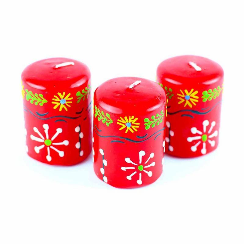 Hand Painted Candles in Red Masika Design (box of three) - Nobunto - Mandala Sol