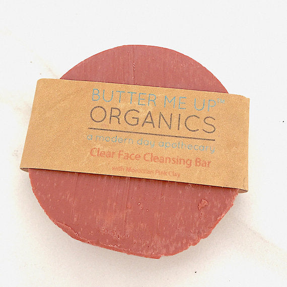 Clear Face Cleansing Bar ● With Moroccan Pink Clay Personal Care Butter Me Up Organics - Mandala Sol