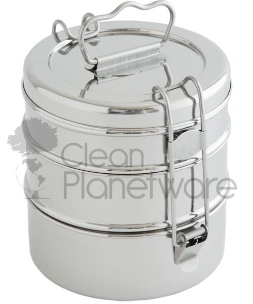 3 Layer Stainless Steel Tiffin Container Travelware Clean Planetware - Mandala Sol