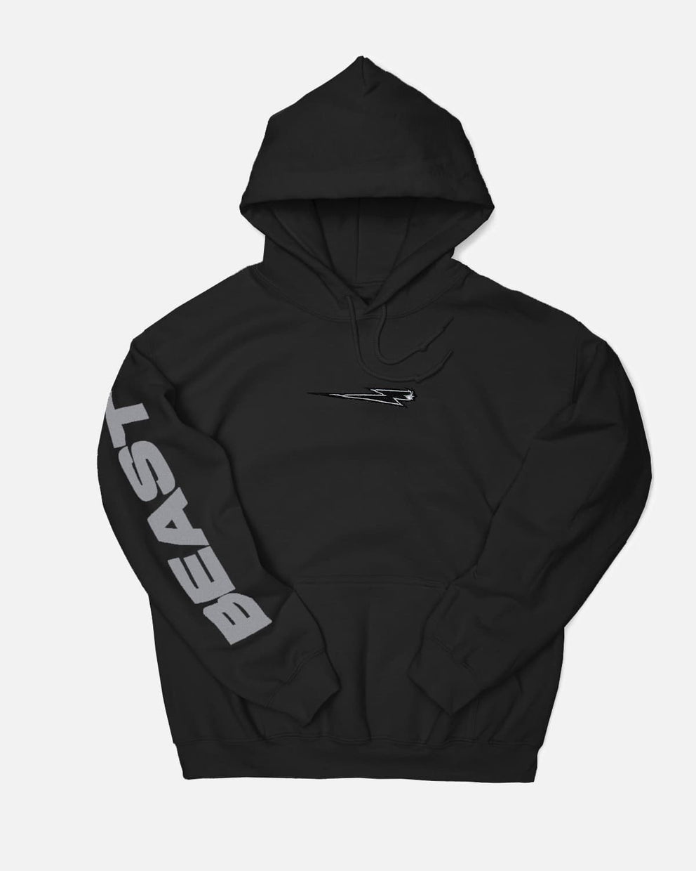 'Beast Bolt' Embroidered Reflective Pull Over Hoodie - Black