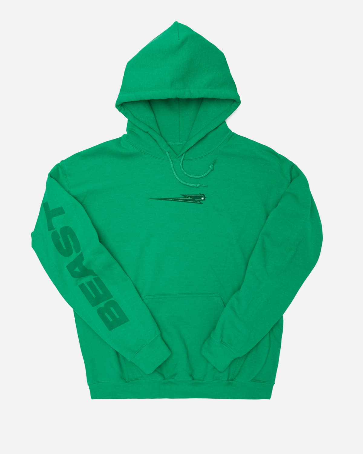 'Beast Bolt' Embroidered Pull Over Hoodie - Green
