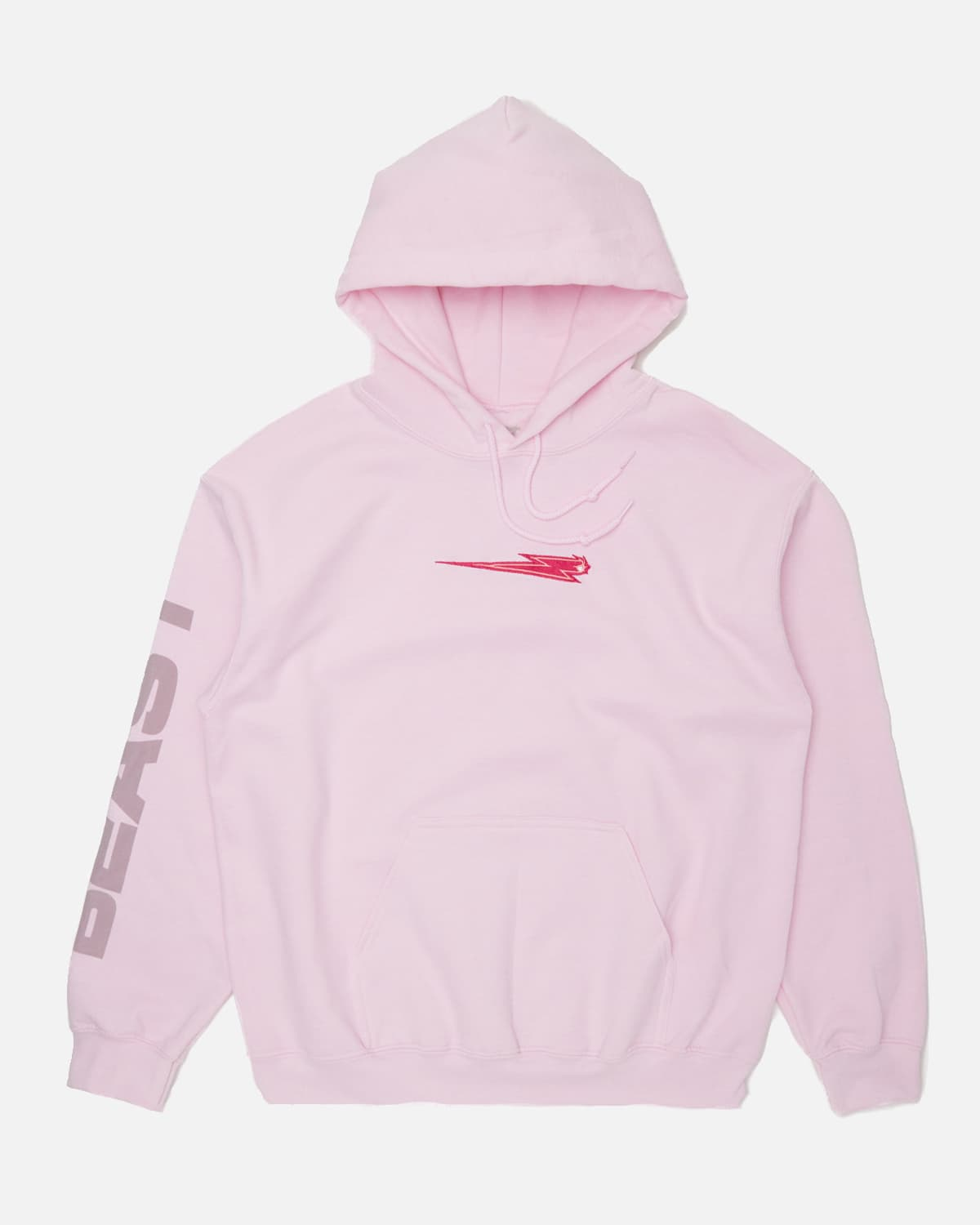 'Beast Bolt' Embroidered Pull Over Hoodie - Pink