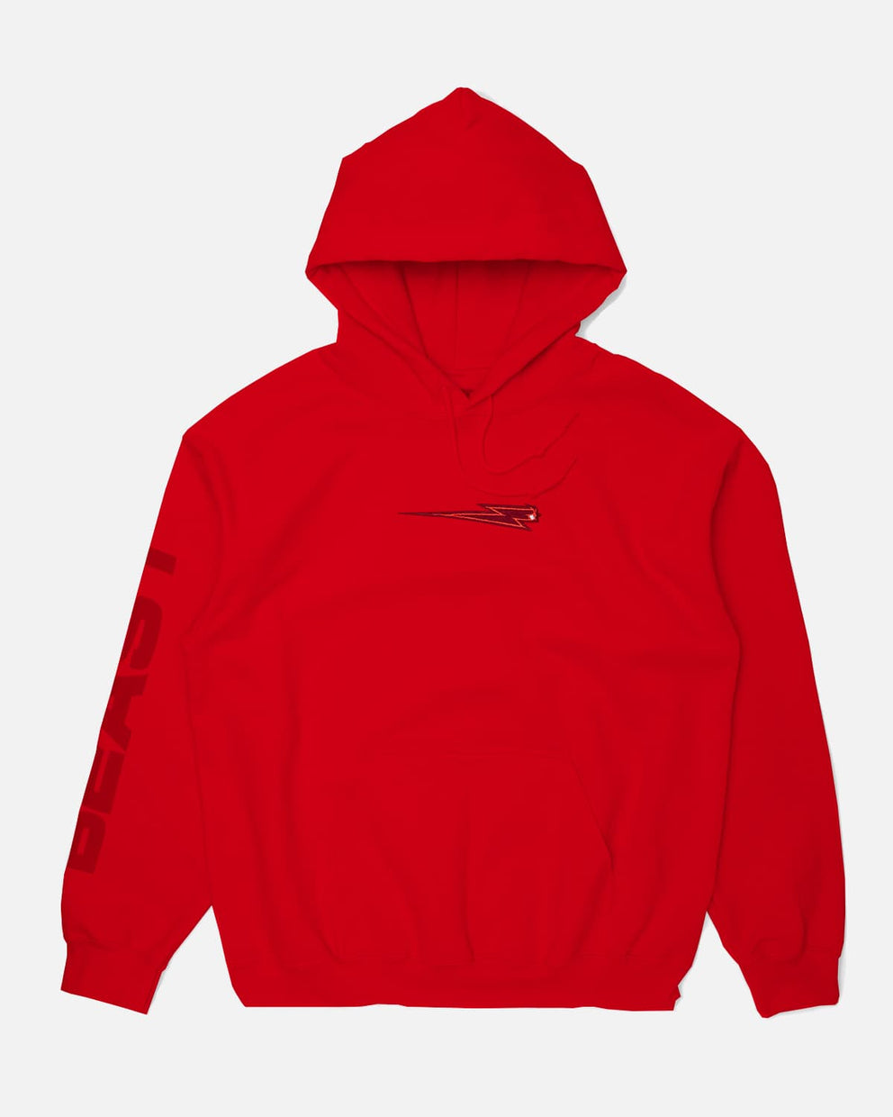 'Beast Bolt' Embroidered Pull Over Hoodie - Red