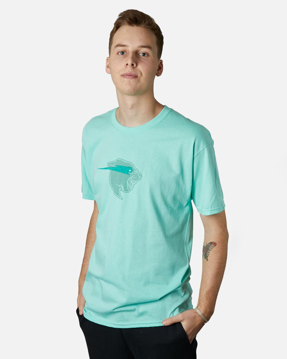 'Beast Head' Embroidery Tee - Mint