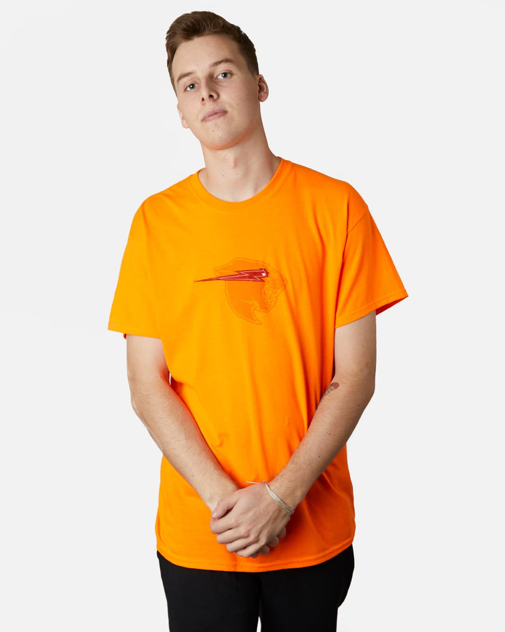 'Beast Head' Embroidery Tee - Orange