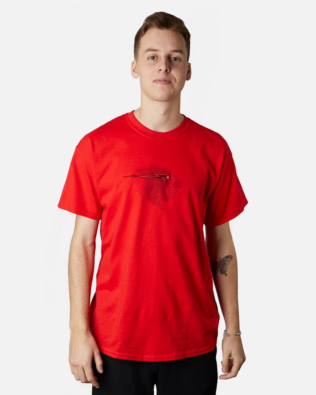'Beast Head' Embroidery Tee - Red