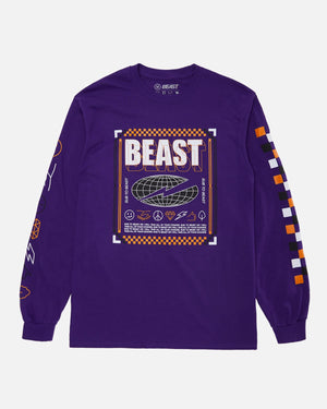 'Checkered Beast' Long Sleeve Tee - Purple