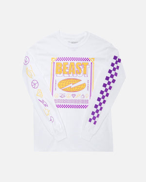 'Checkered Beast' Long Sleeve Tee - White