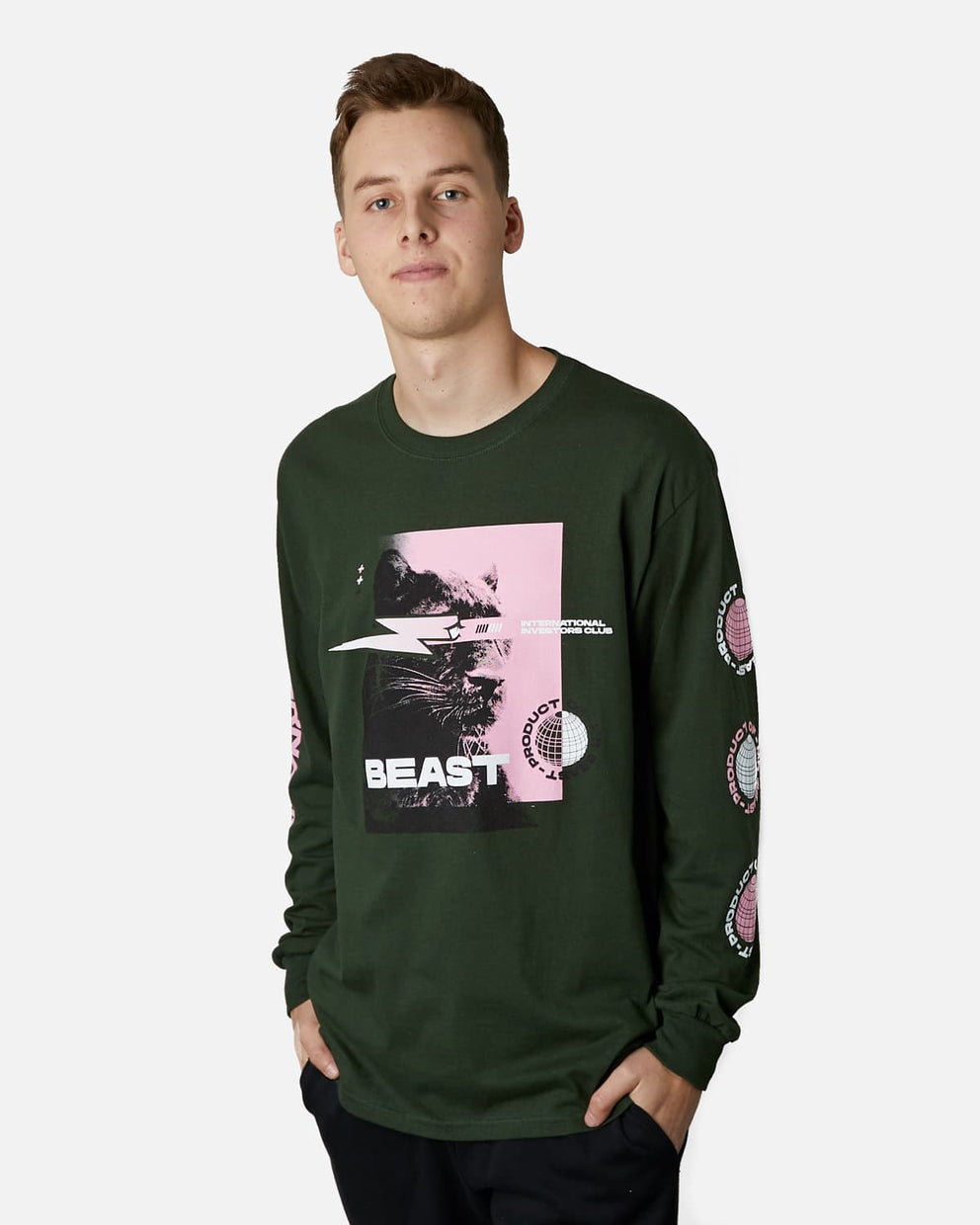 'International Investors Club' Long Sleeve Tee - Forest Green