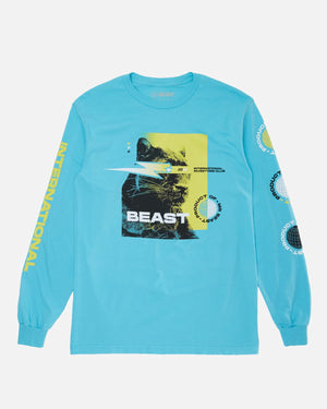 'International Investors Club' Long Sleeve Tee - Lagoon Blue