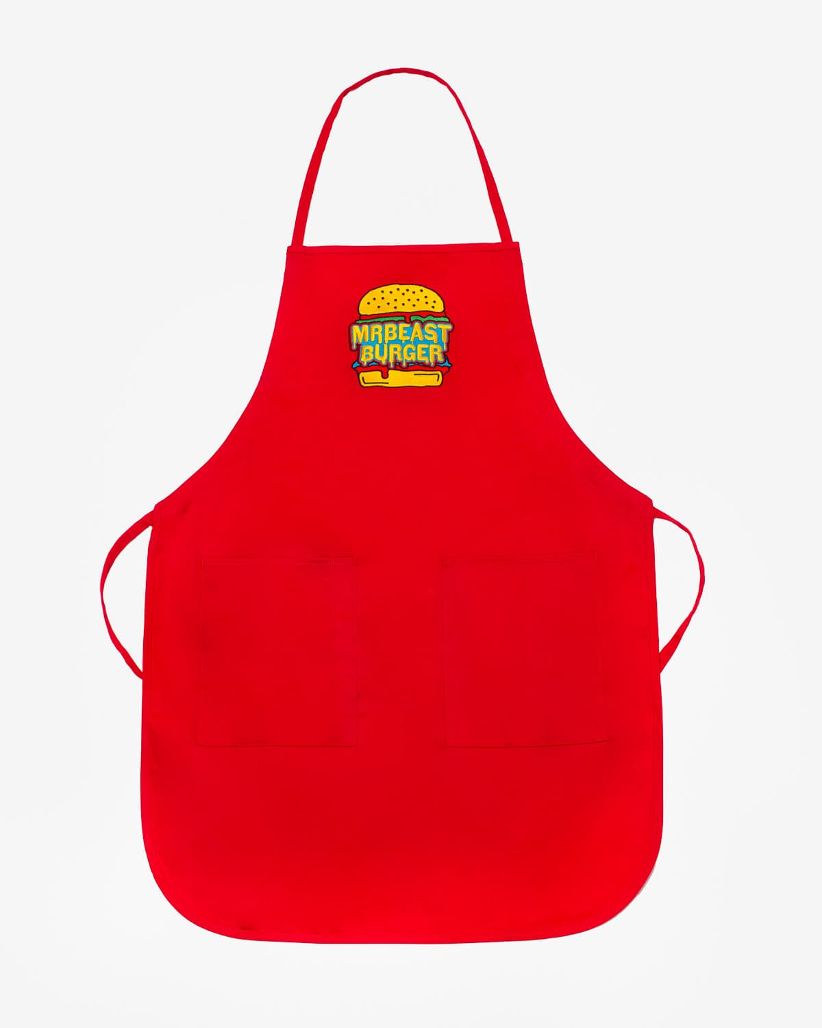 MrBeast Burger Logo Long Apron - Red