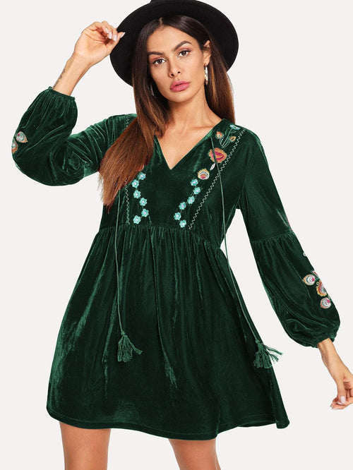 Green Tassel Velvet Dress - LoveSylvester