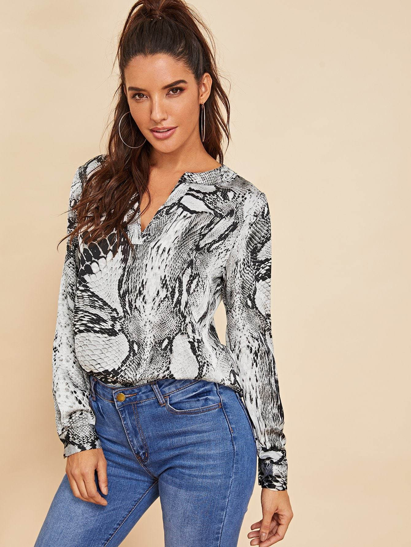 V-Cut Snake Skin Blouse - LoveSylvester