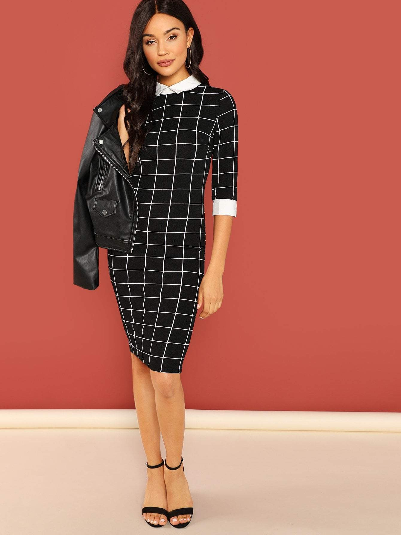 Contrast Slim Grid Dress - LoveSylvester