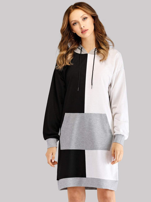 Multicolored Drawstring Hoodie Dress - LoveSylvester