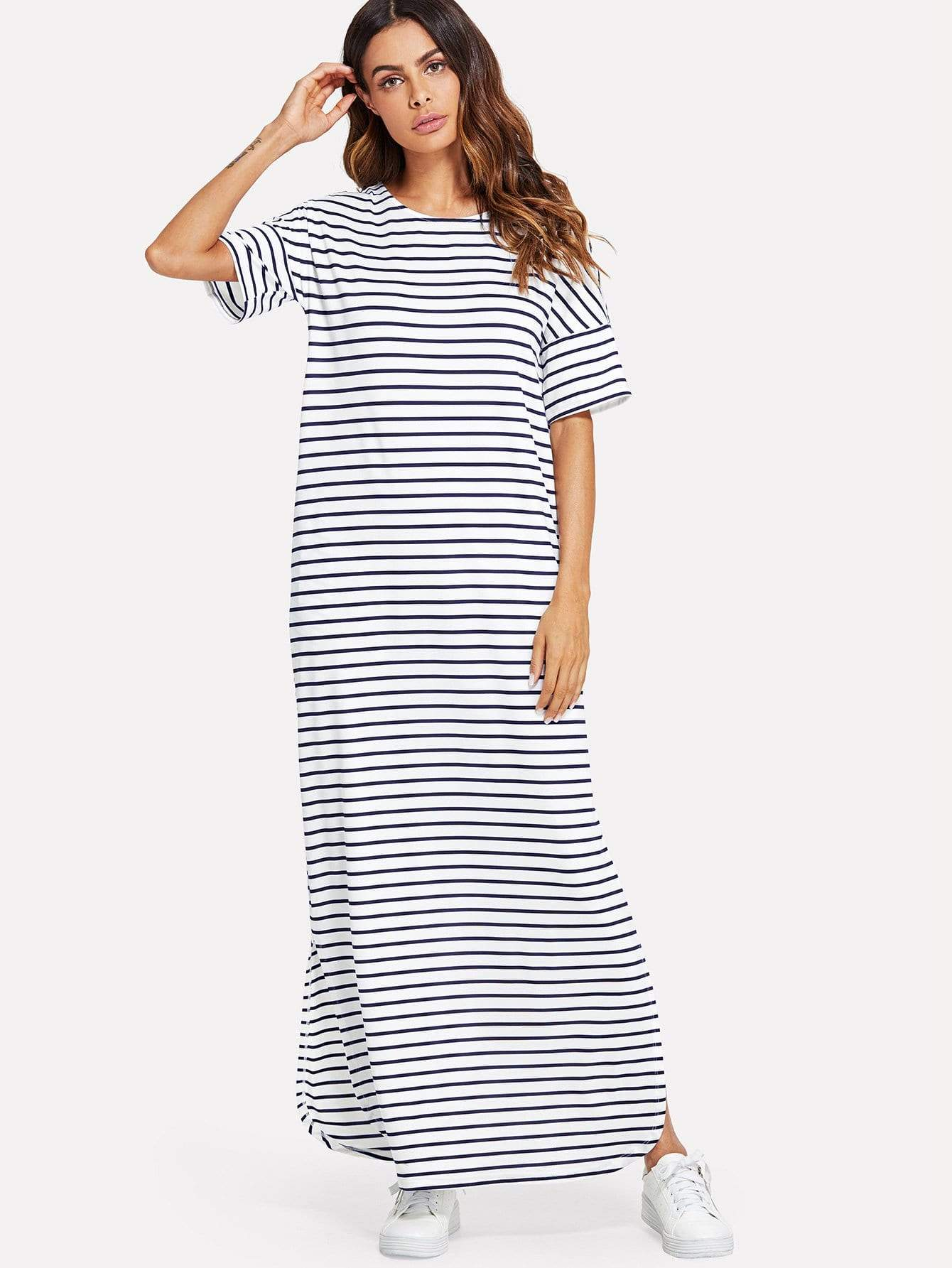 Split Striped Tunic Dress - LoveSylvester