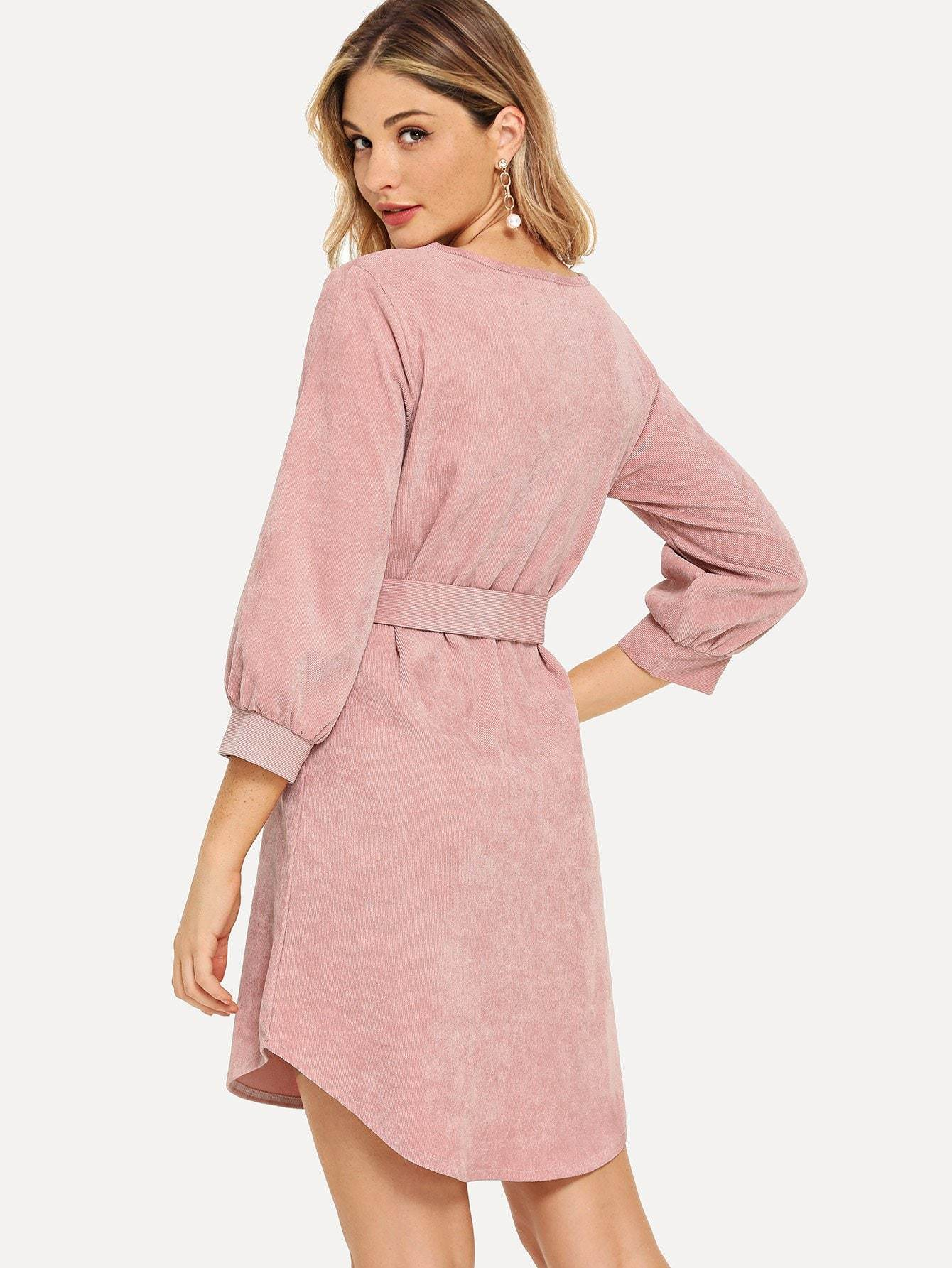 Waist Tied Corduroy Dress - LoveSylvester