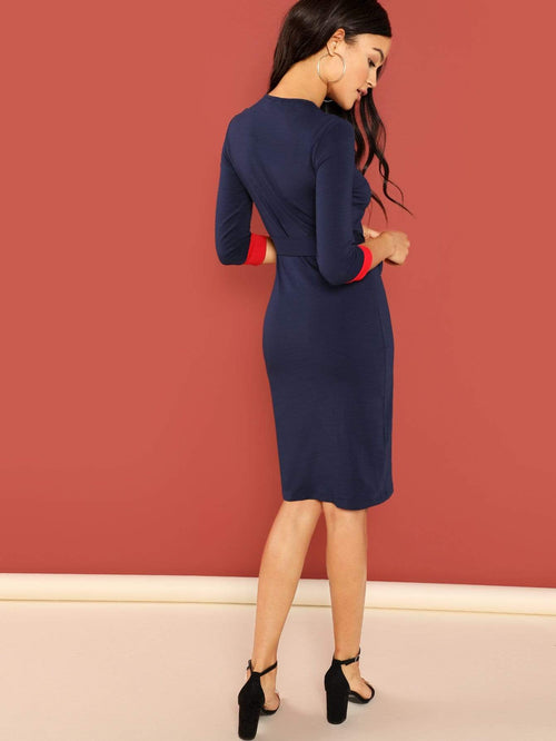 Belted Pencil Dress - LoveSylvester