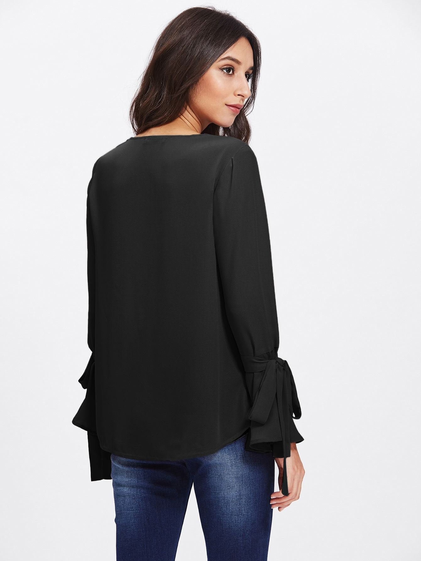 Embellished Bell Cuff Blouse - LoveSylvester