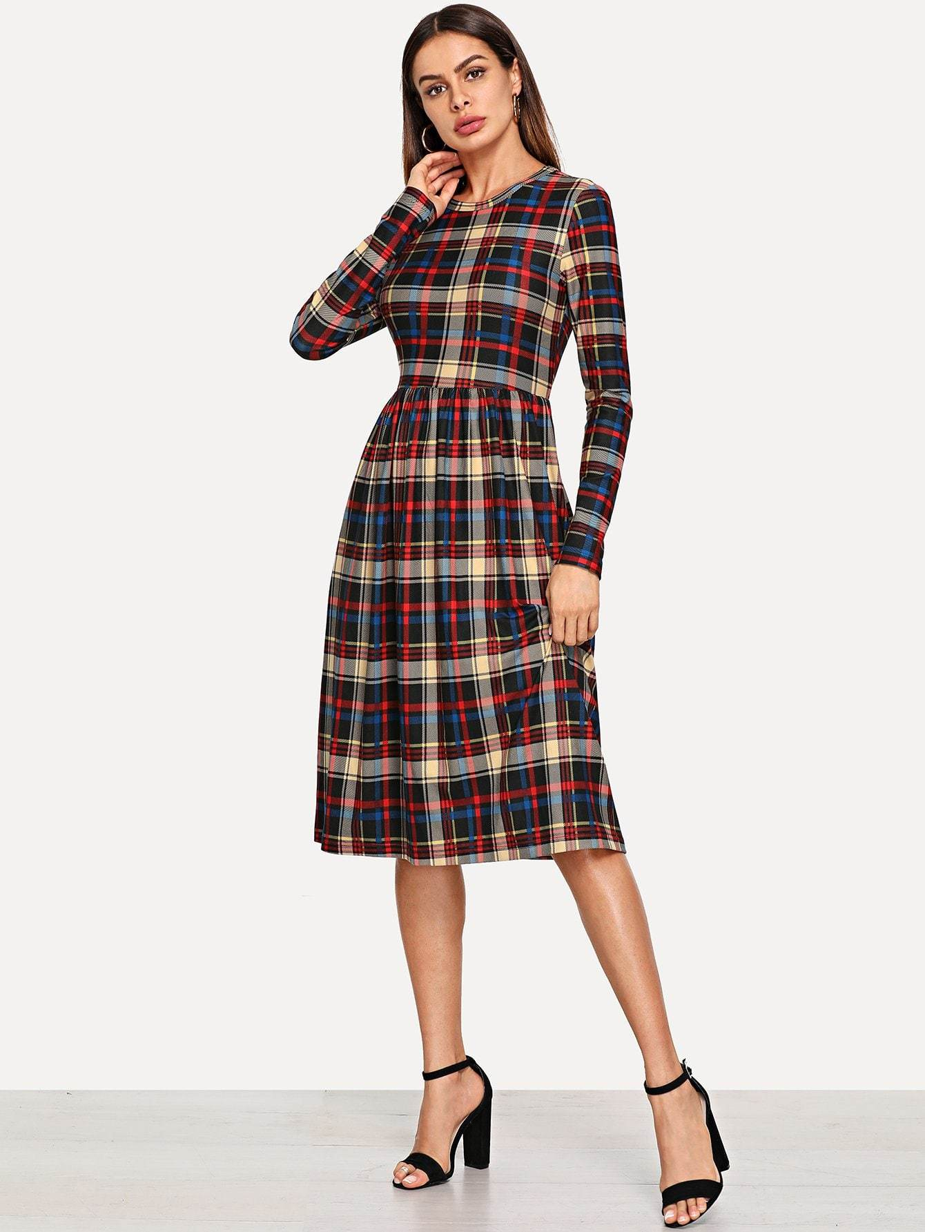 Pocket Side Plaid Dress - LoveSylvester