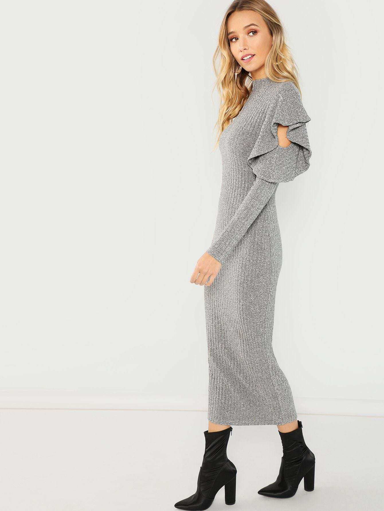Ruffle Detail Solid Dress - LoveSylvester